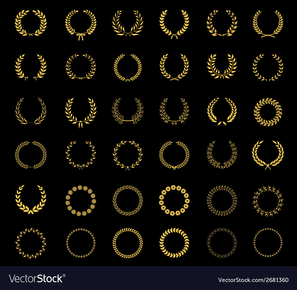 Set of laurel wheat floral wreaths and frames vector