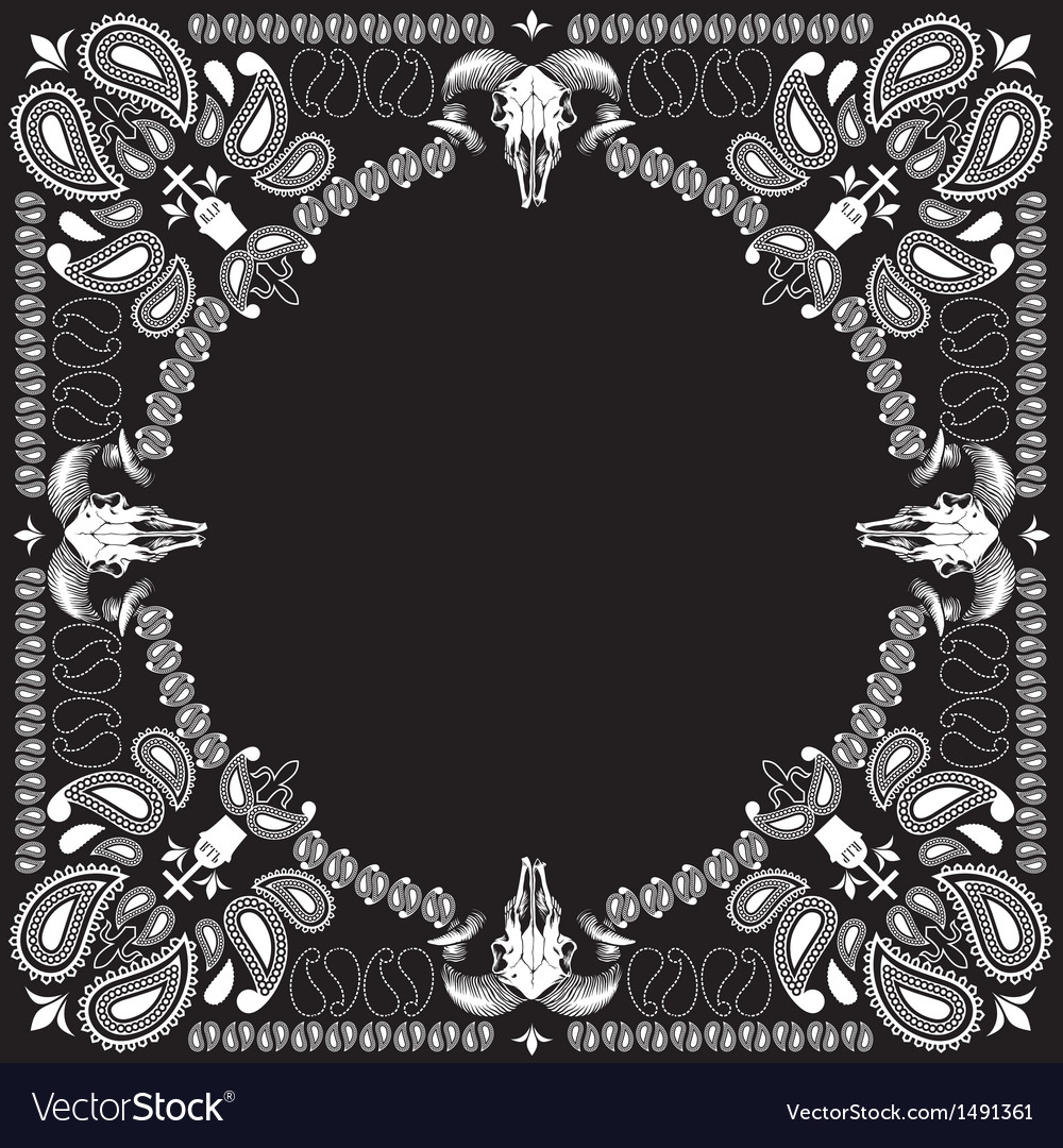 Bandana pattern with goat skull vector