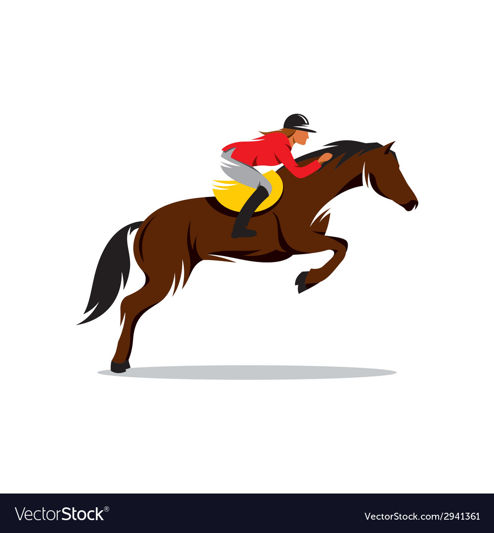 Horse at jumping sign vector