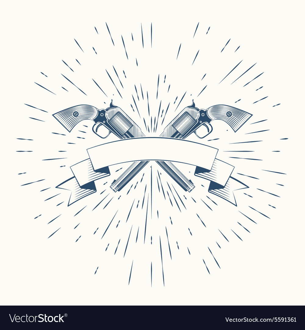 Revolvers and vintage sun burst frame vector