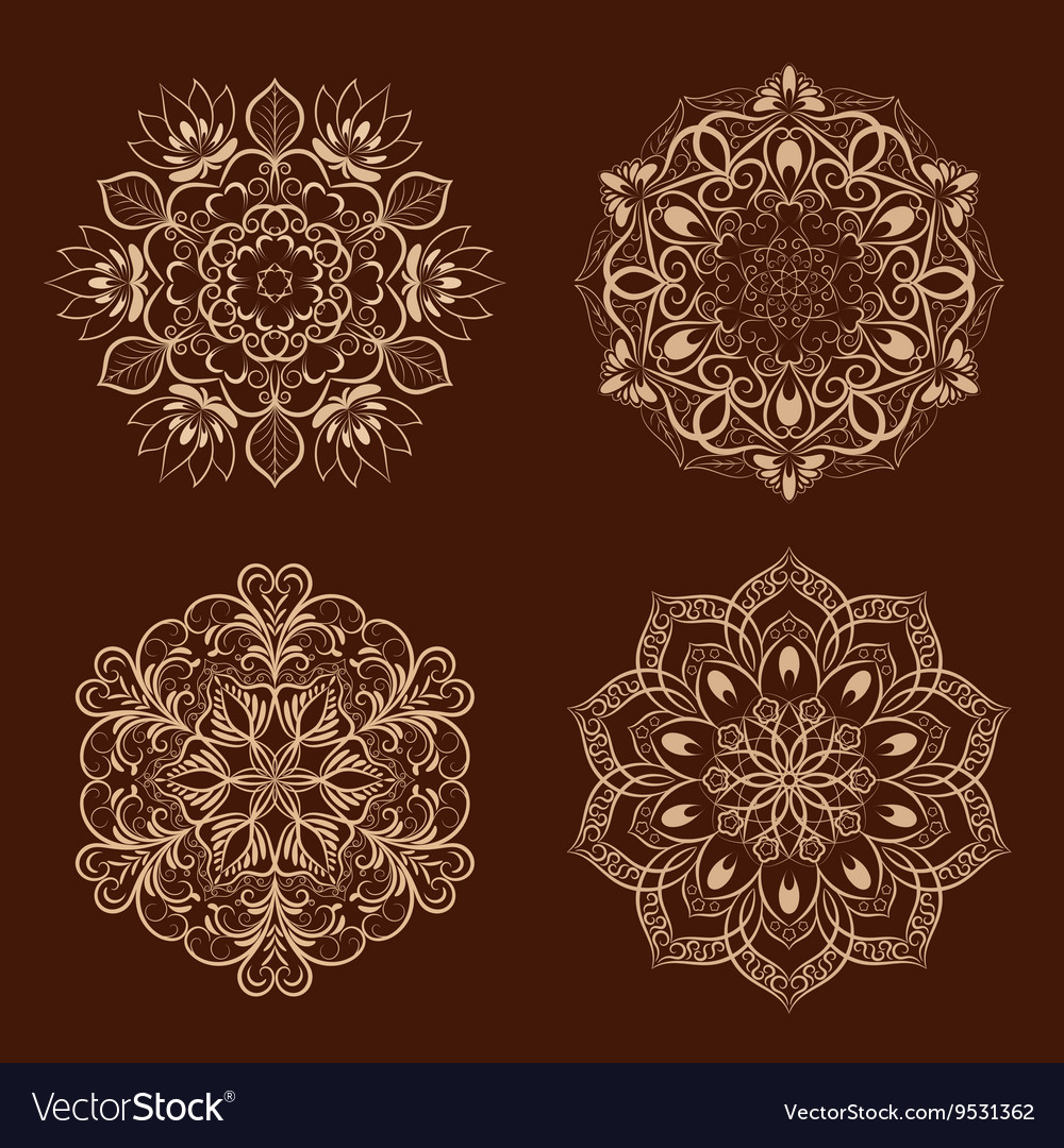 Set from coffee color mandala over dark vector