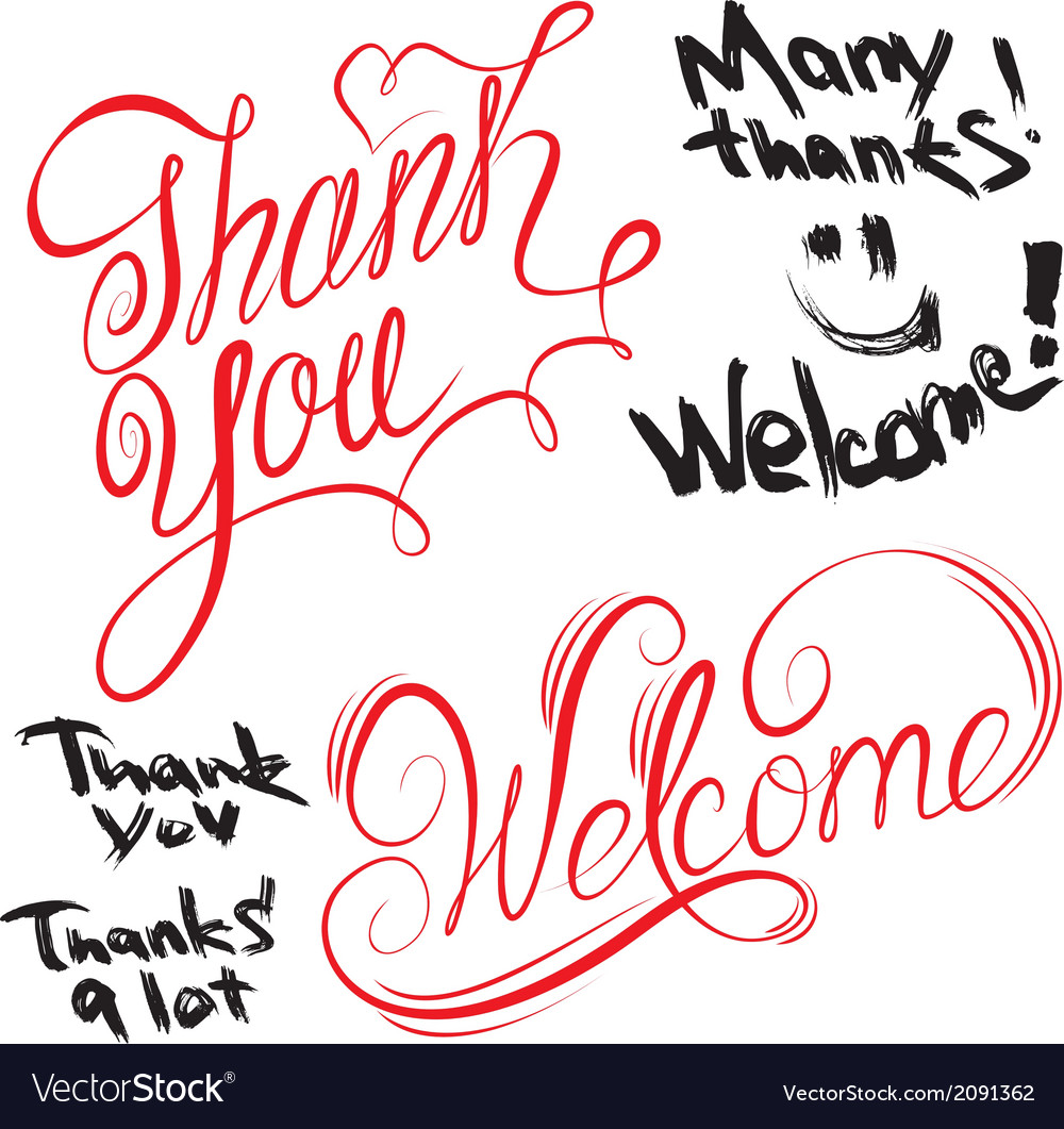 Thank you welcome 380 vector