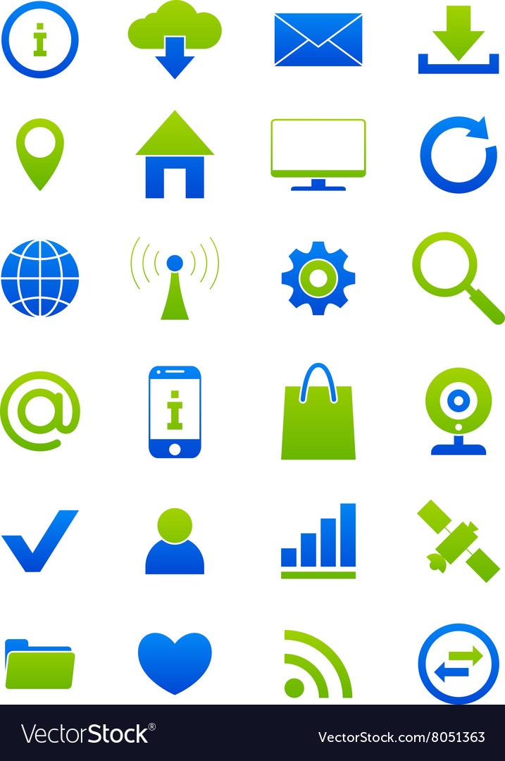 Blue green internet icons set vector