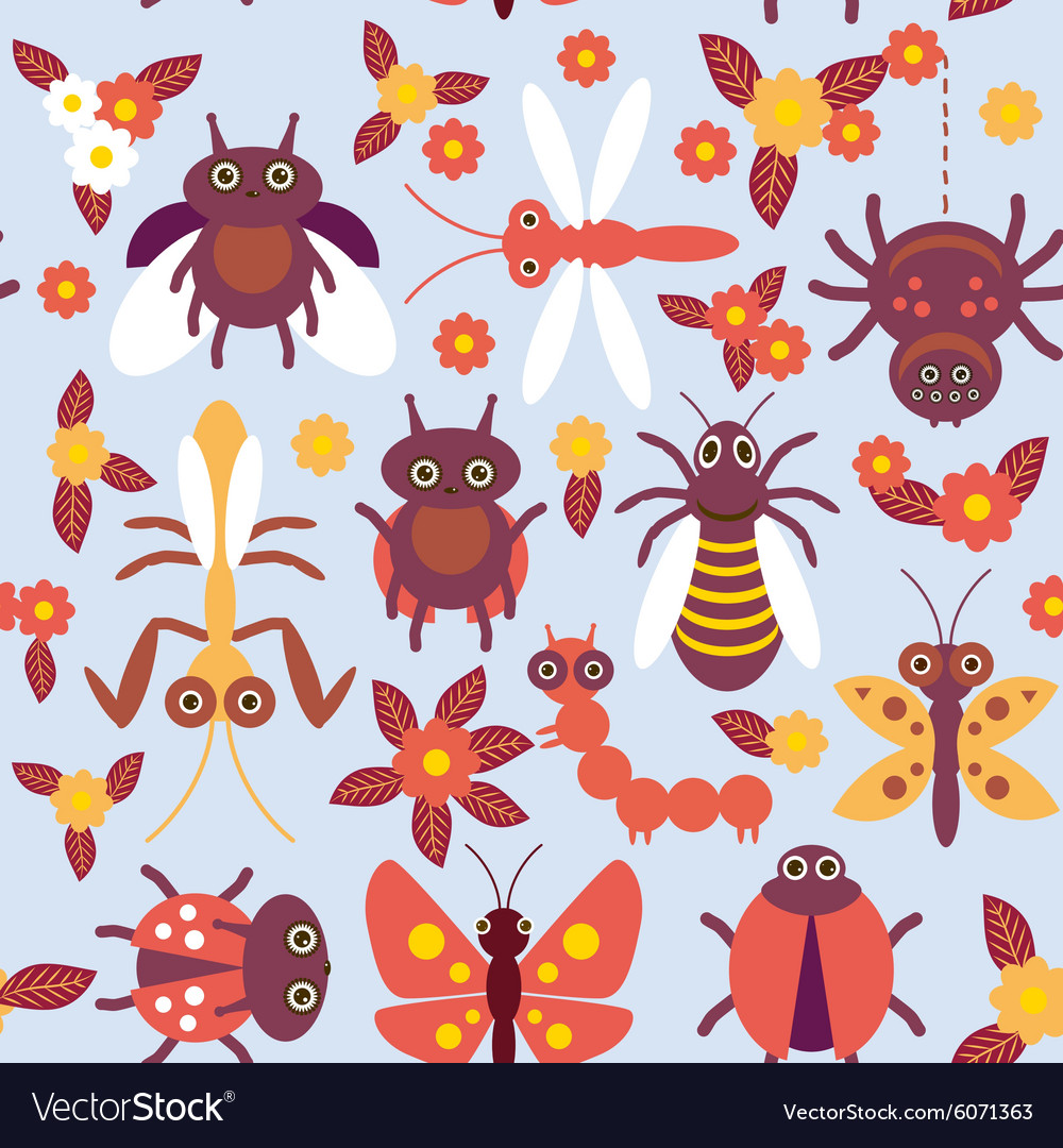 Funny insects spider butterfly caterpillar vector