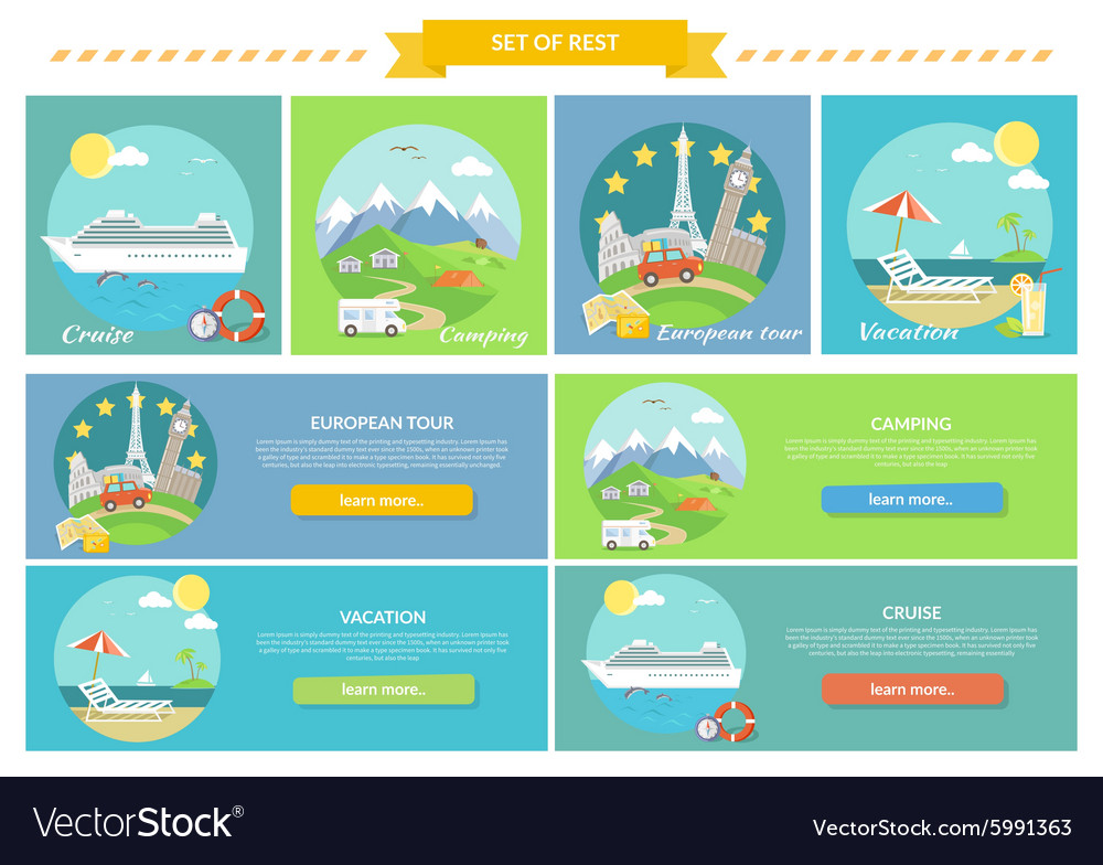 Traveling cruise ship and camping concept vector