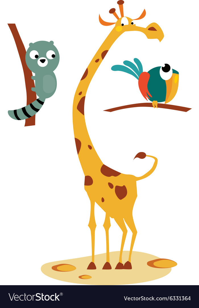 Giraffe lemour and bird in vector