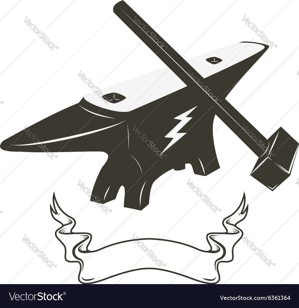 Hammer and anvil vector