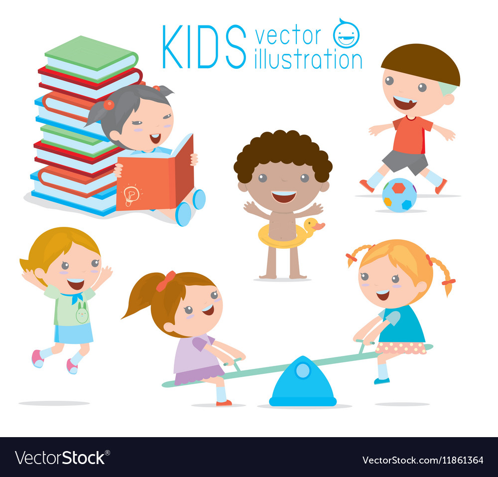 Happy cartoon kids playing children egucation vector
