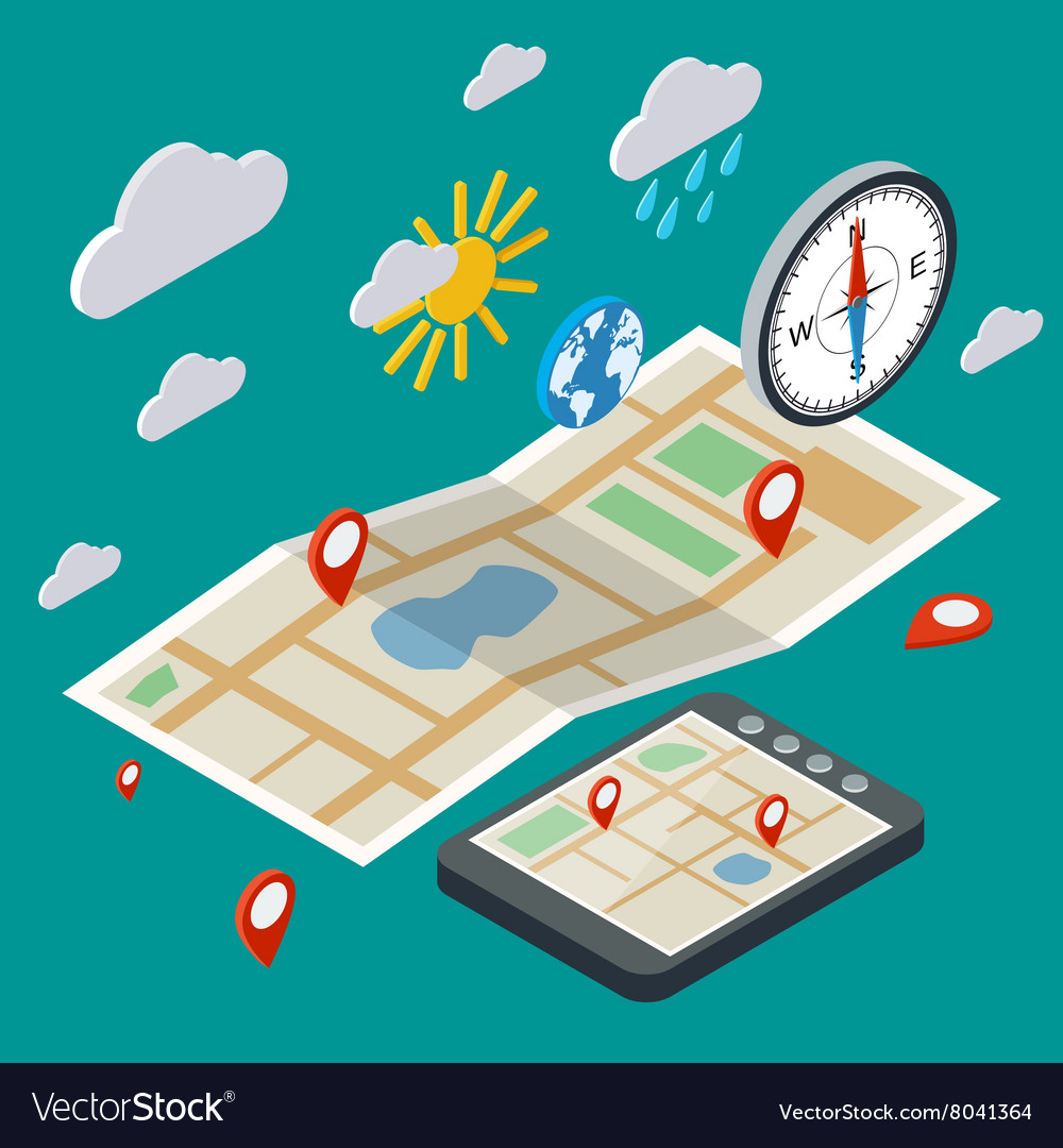Mobile navigation isometric concept vector