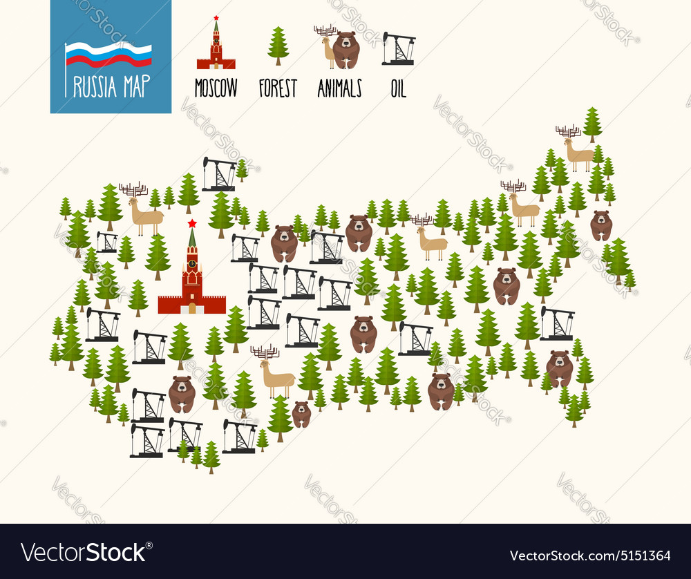 Russia map infographic of the russian federation vector