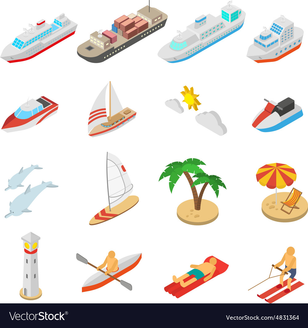 Ships and beach vacation icons set vector