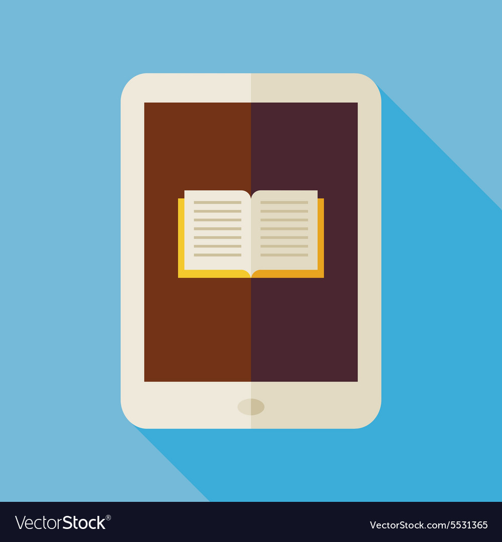 Flat electronic book with long shadow vector