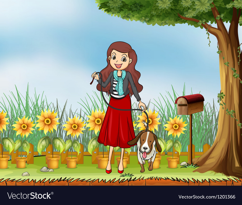 A woman with a dog at the garden vector