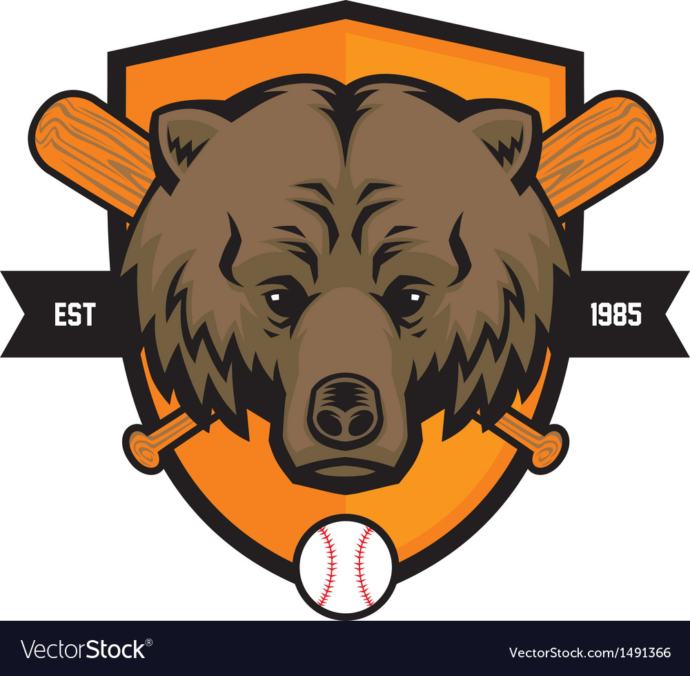 Bear head baseball mascot vector