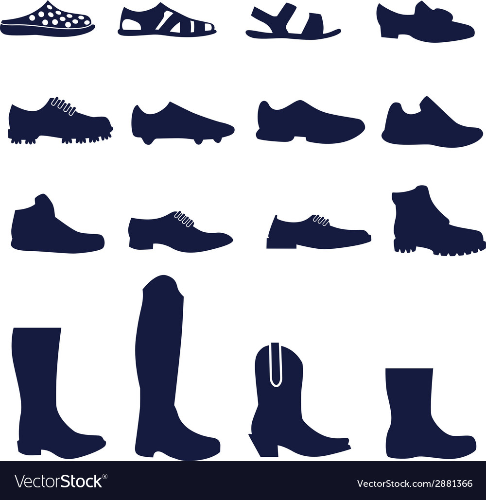 Different types of men footwear vector