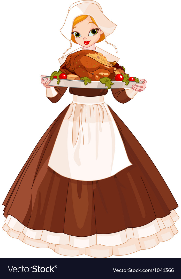 Pilgrim girl with plate vector