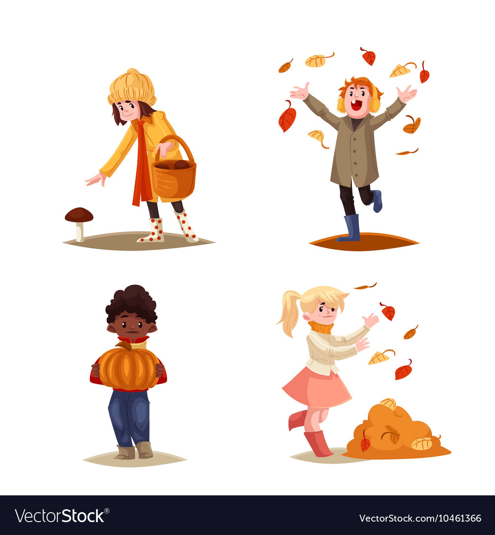 Set of kids enjoying outdoor fall autumn vector