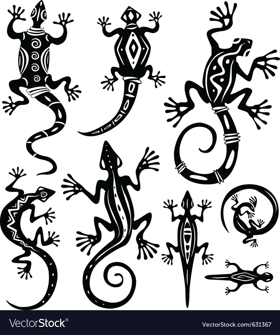 Decorative lizards vector