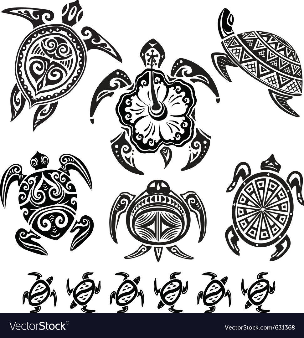 Decorative turtles vector