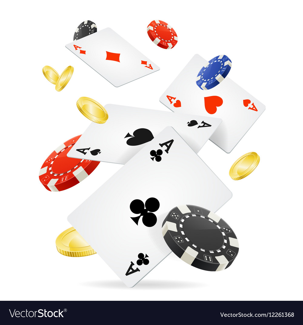 Playing cards and poker chips fly vector