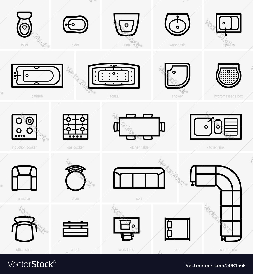Top view furniture icons vector