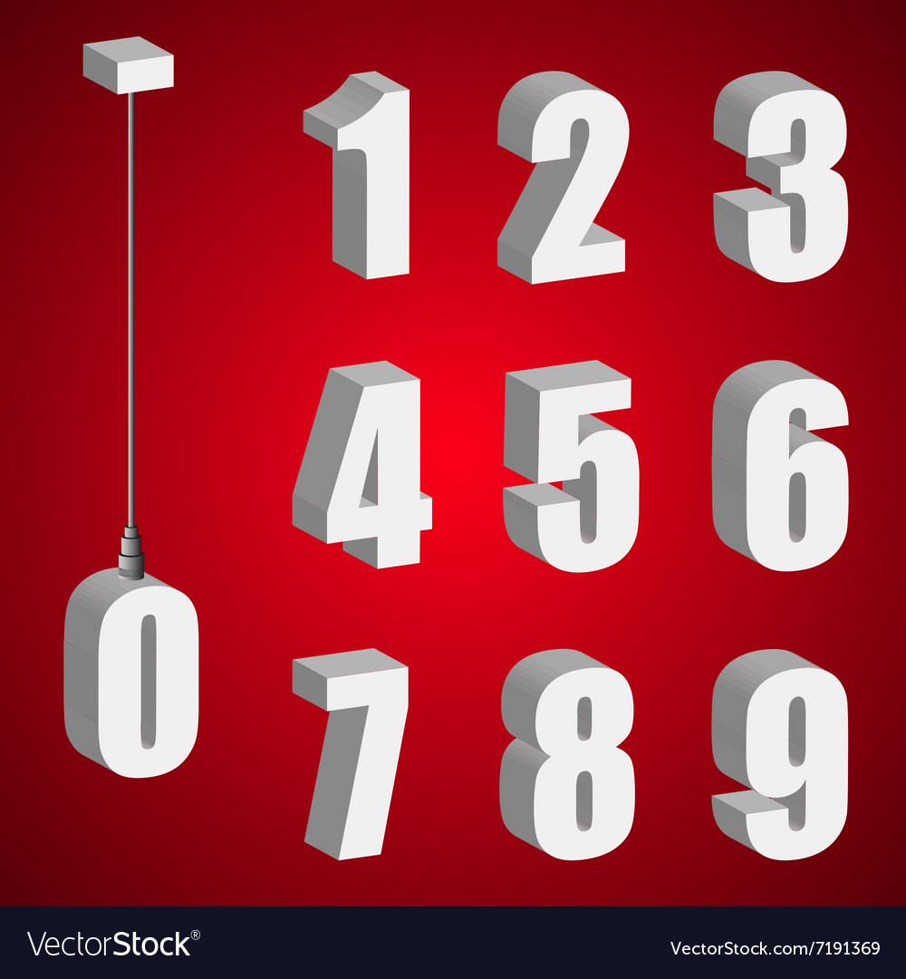 Hanging light bulb digits 3d isometric numbers vector