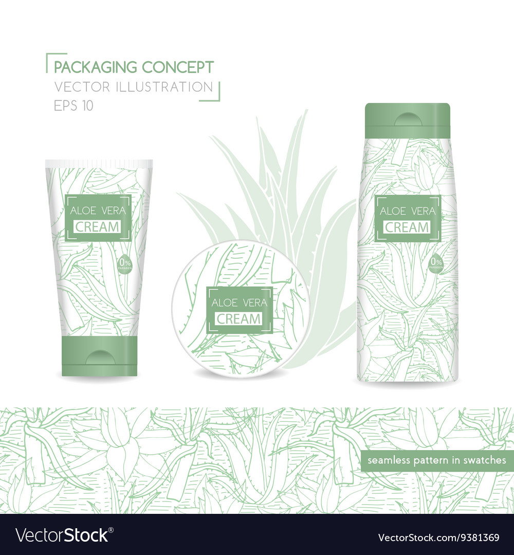 Packing concept with aloe vera vector