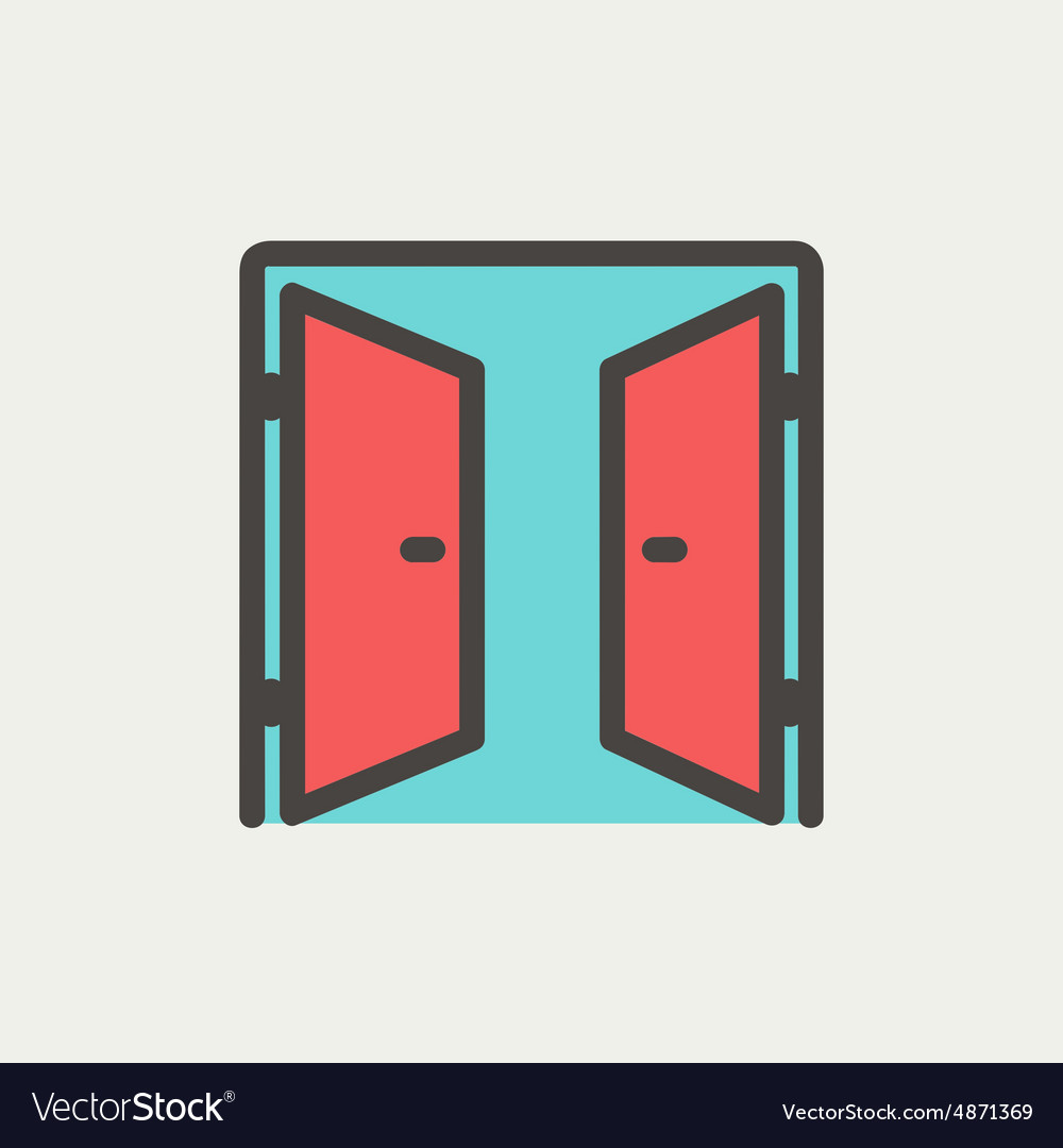 Two doors thin line icon vector