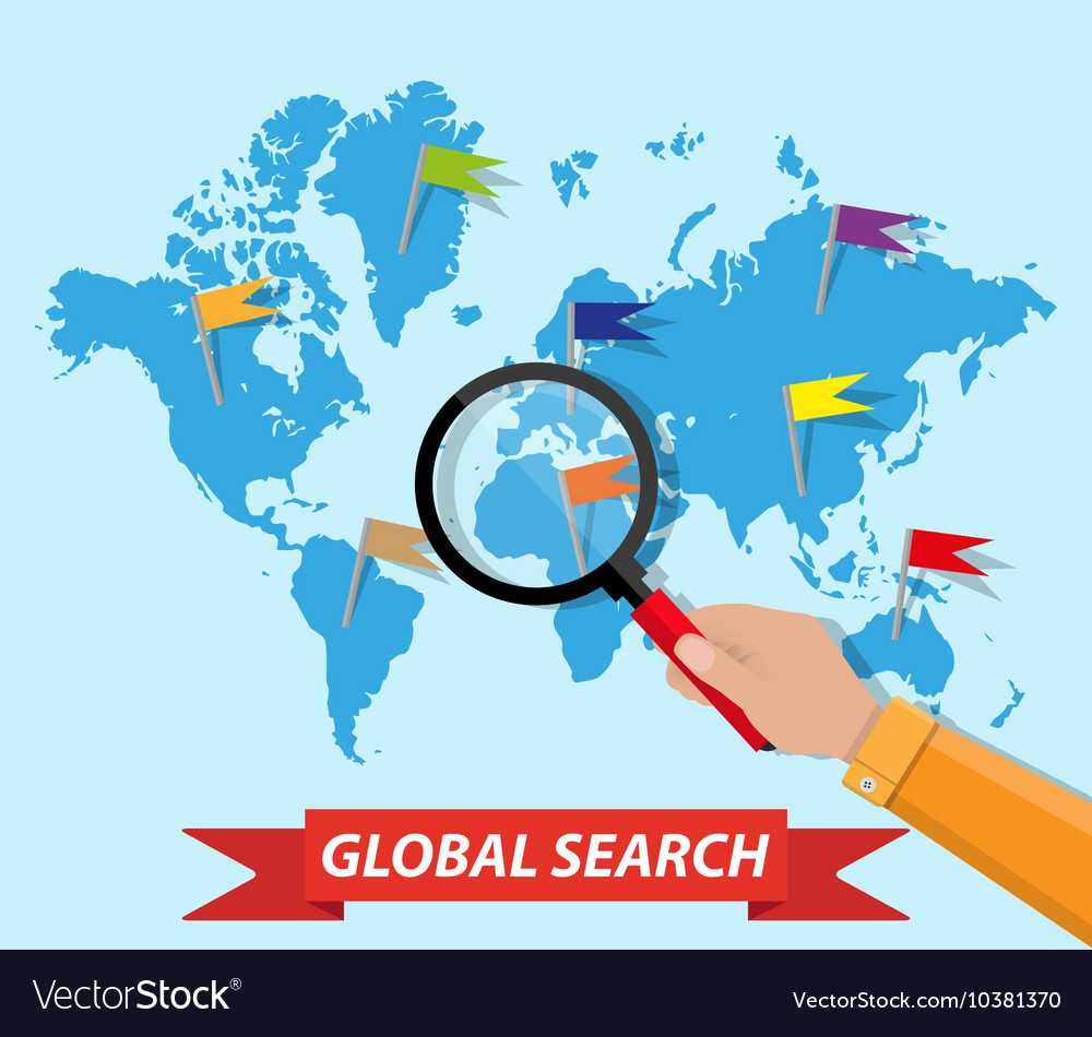 Global search world map hand magnifying glass vector
