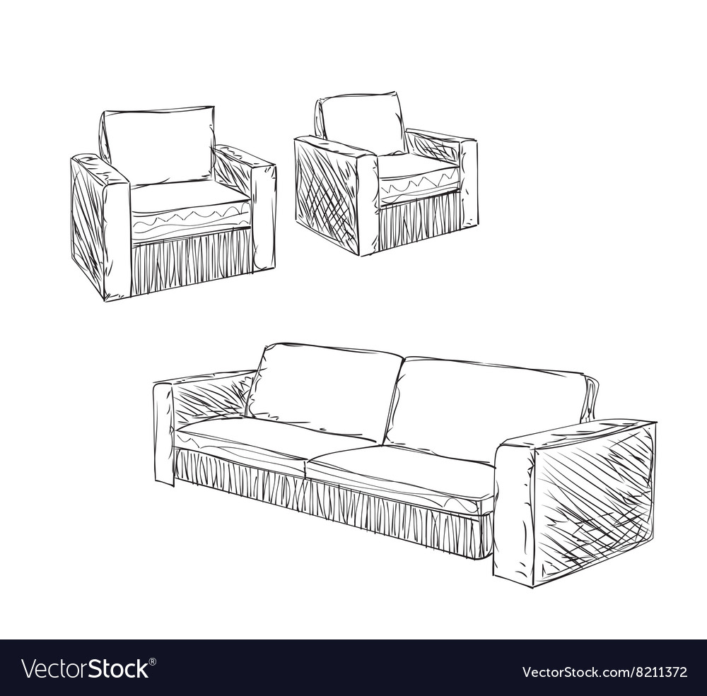 Doodle armchair set for interior design vector