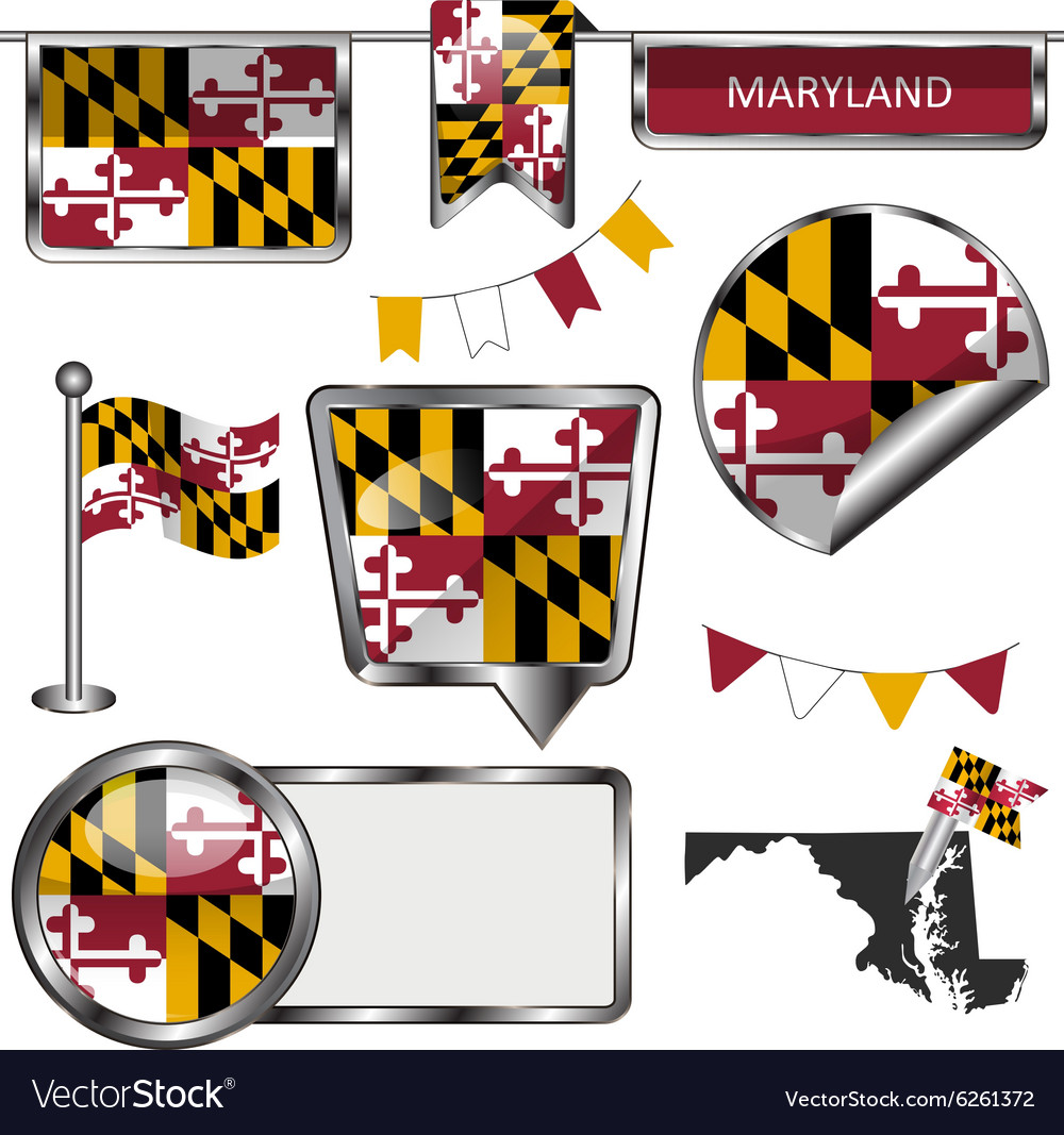 Glossy icons with marylander flag vector