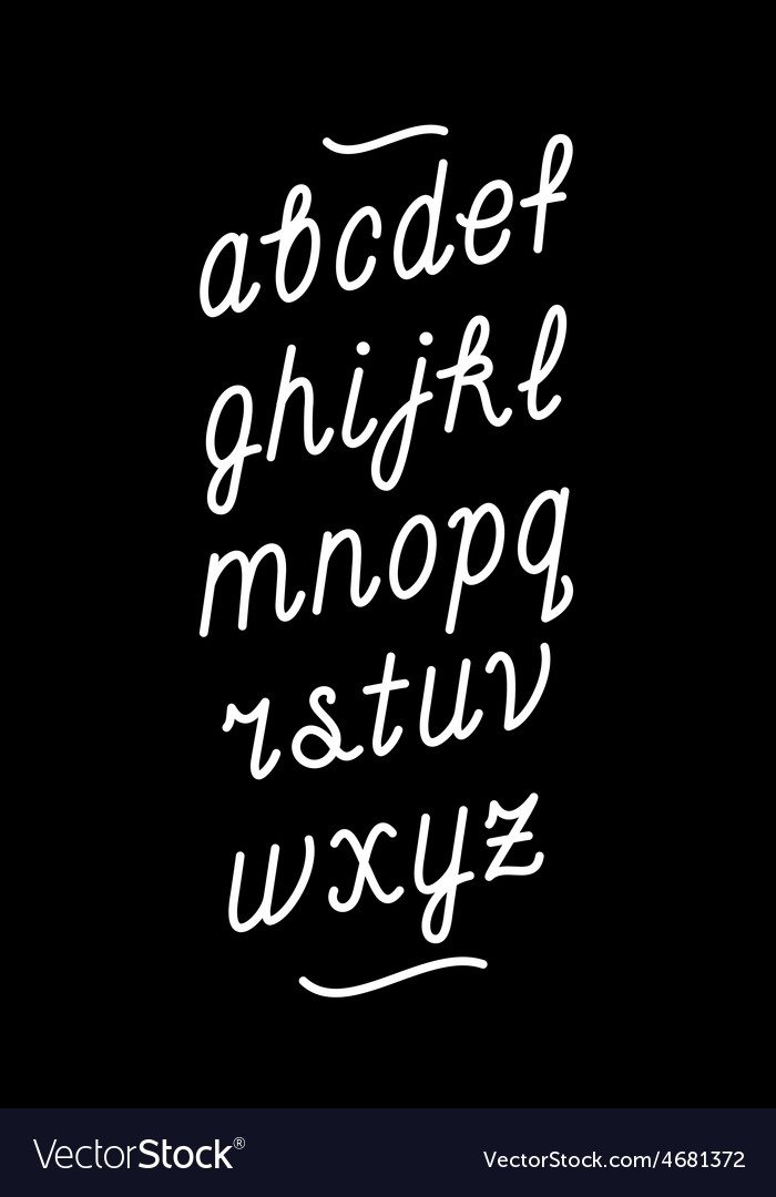Hand drawn chalk board cursive font alphabet vector
