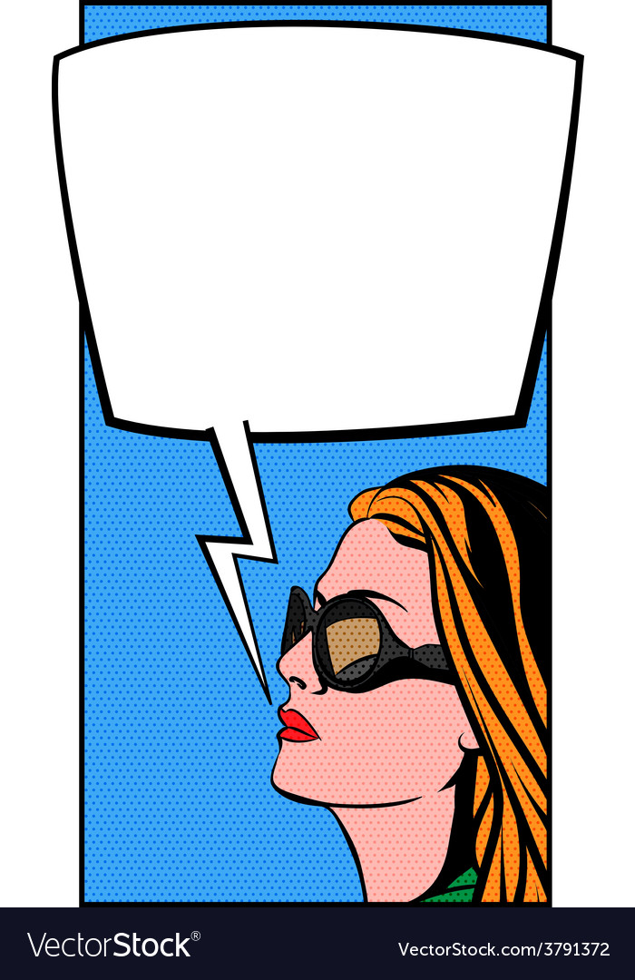 Pop art woman and comic bubble vector