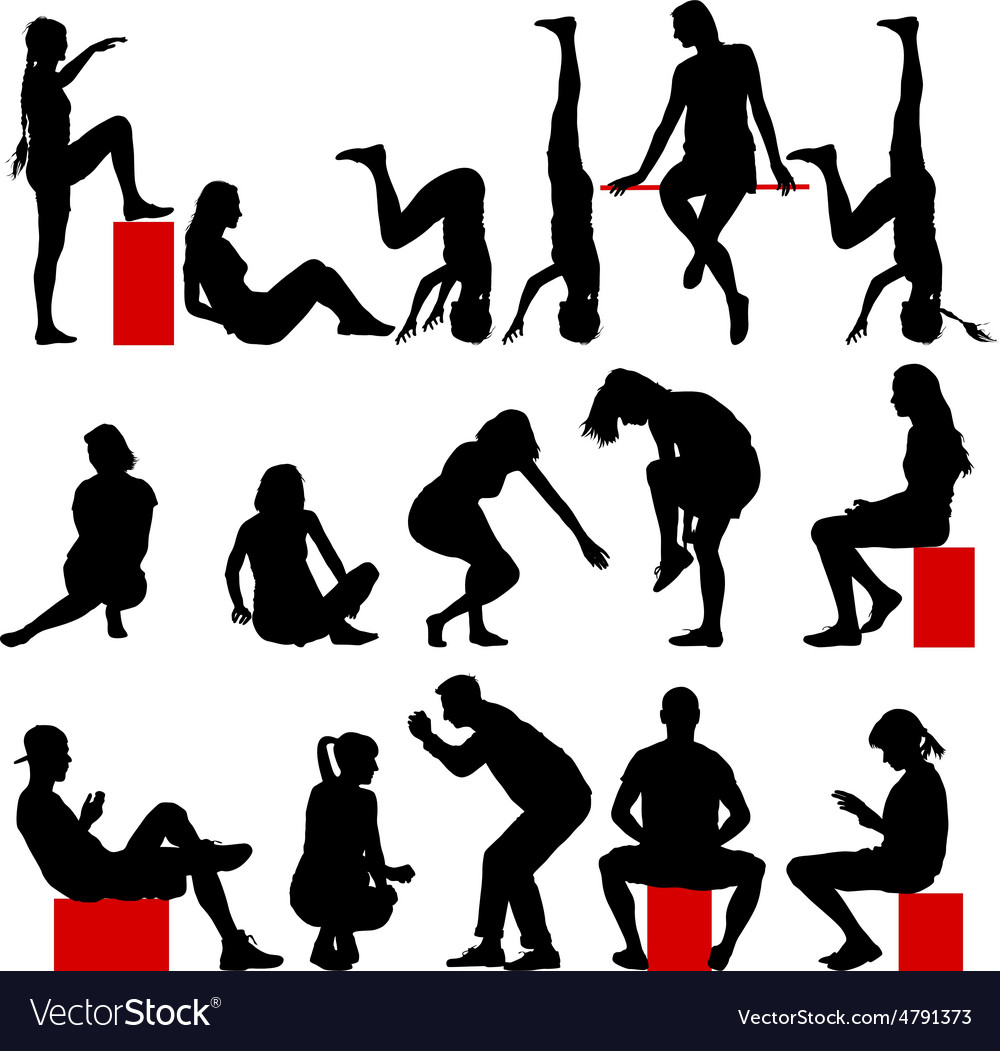 Black silhouettes of men and women in a pose vector