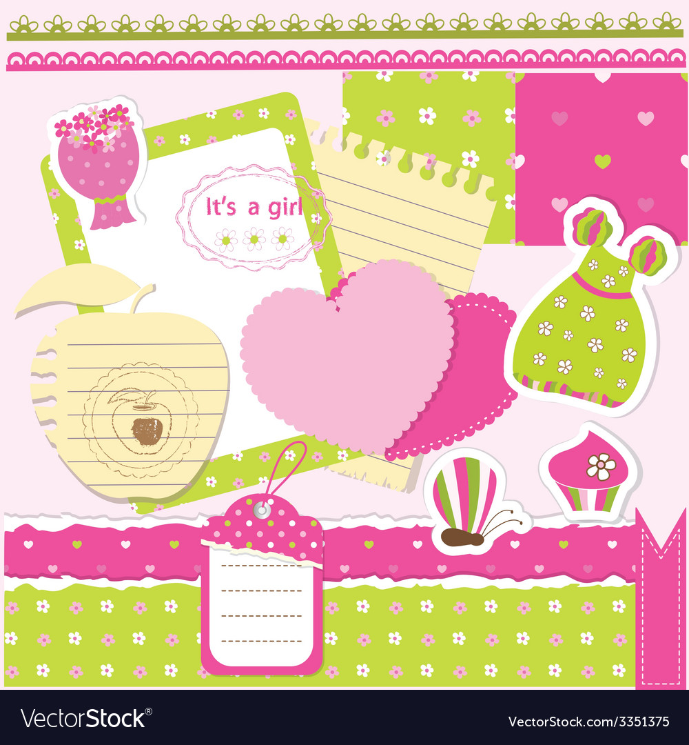 Baby girl scrapbook set vector