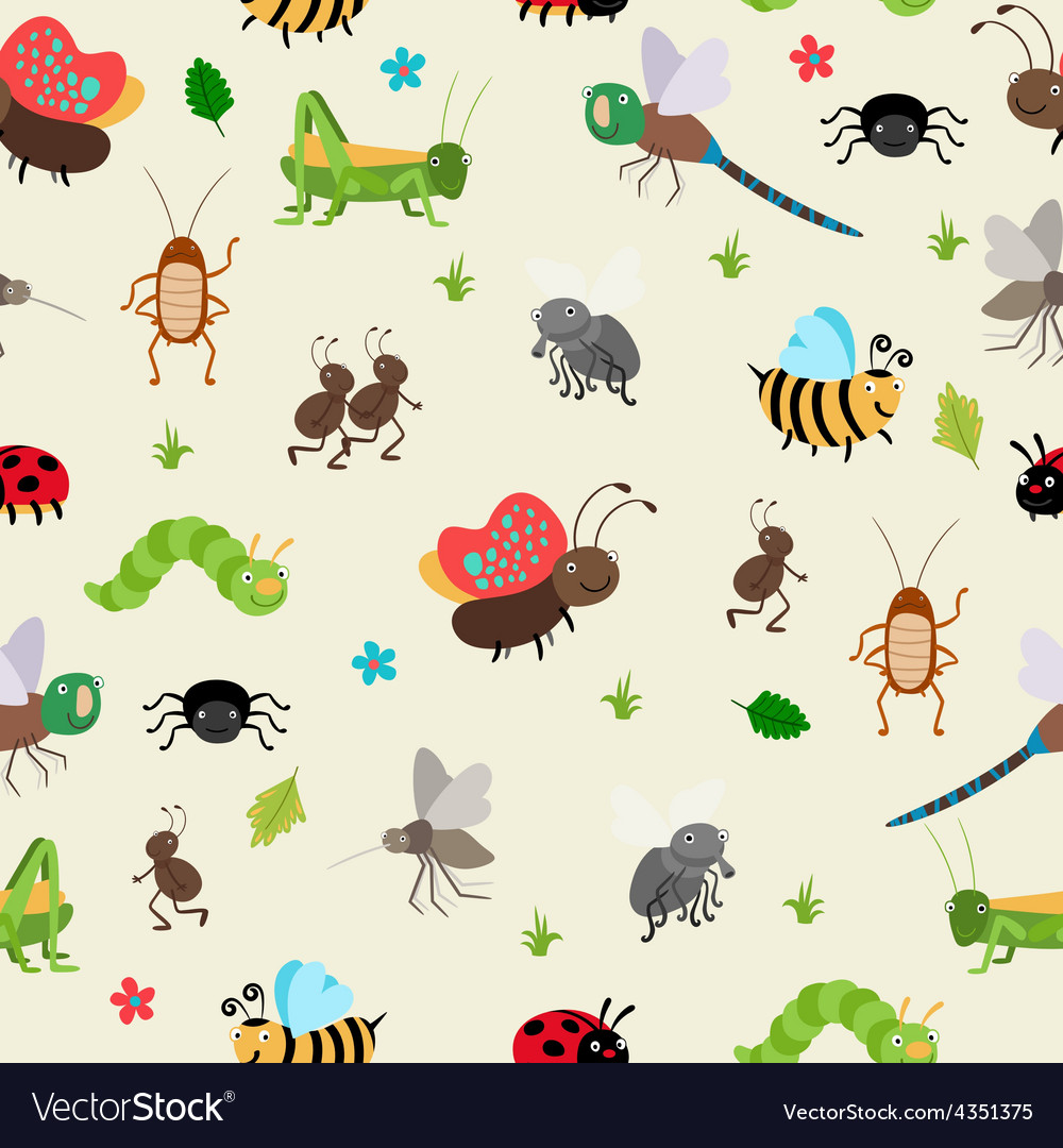 Bugs and beetles seamless background vector