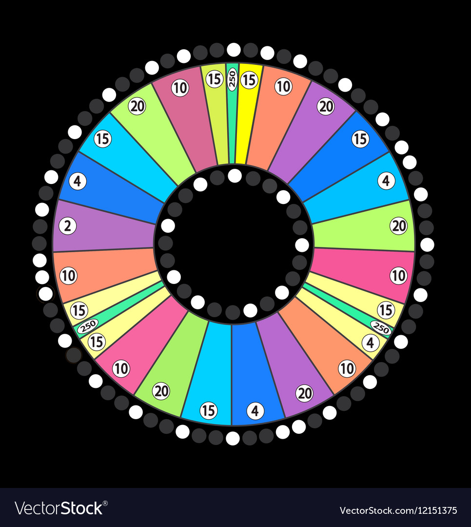 Colour wheel of fortune game jackpot on black vector
