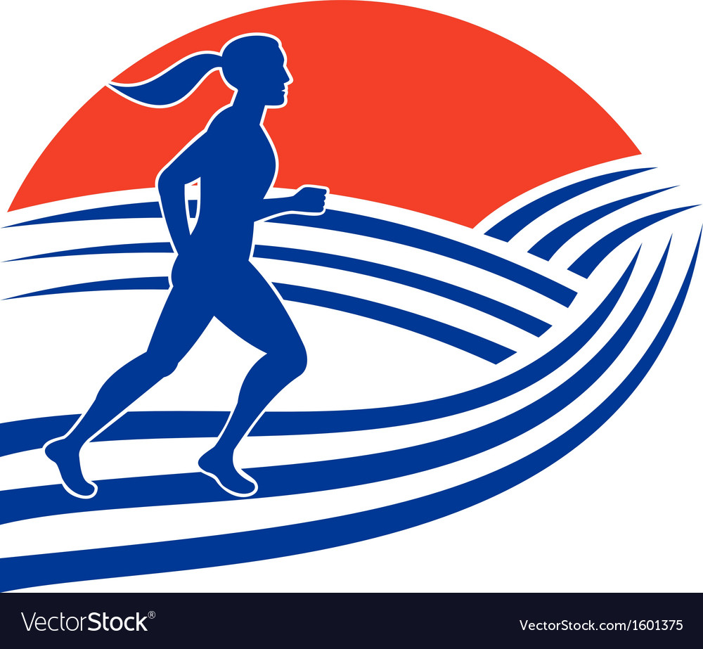 Female marathon runner running side vector