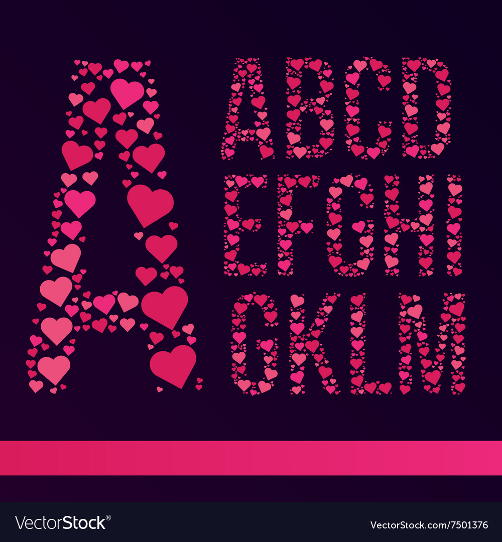 Font created from the heart vector