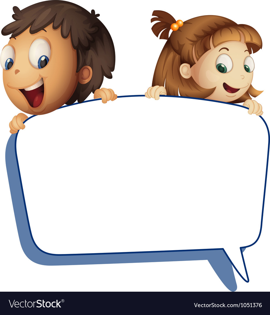 Girl and boy holding callout picture vector