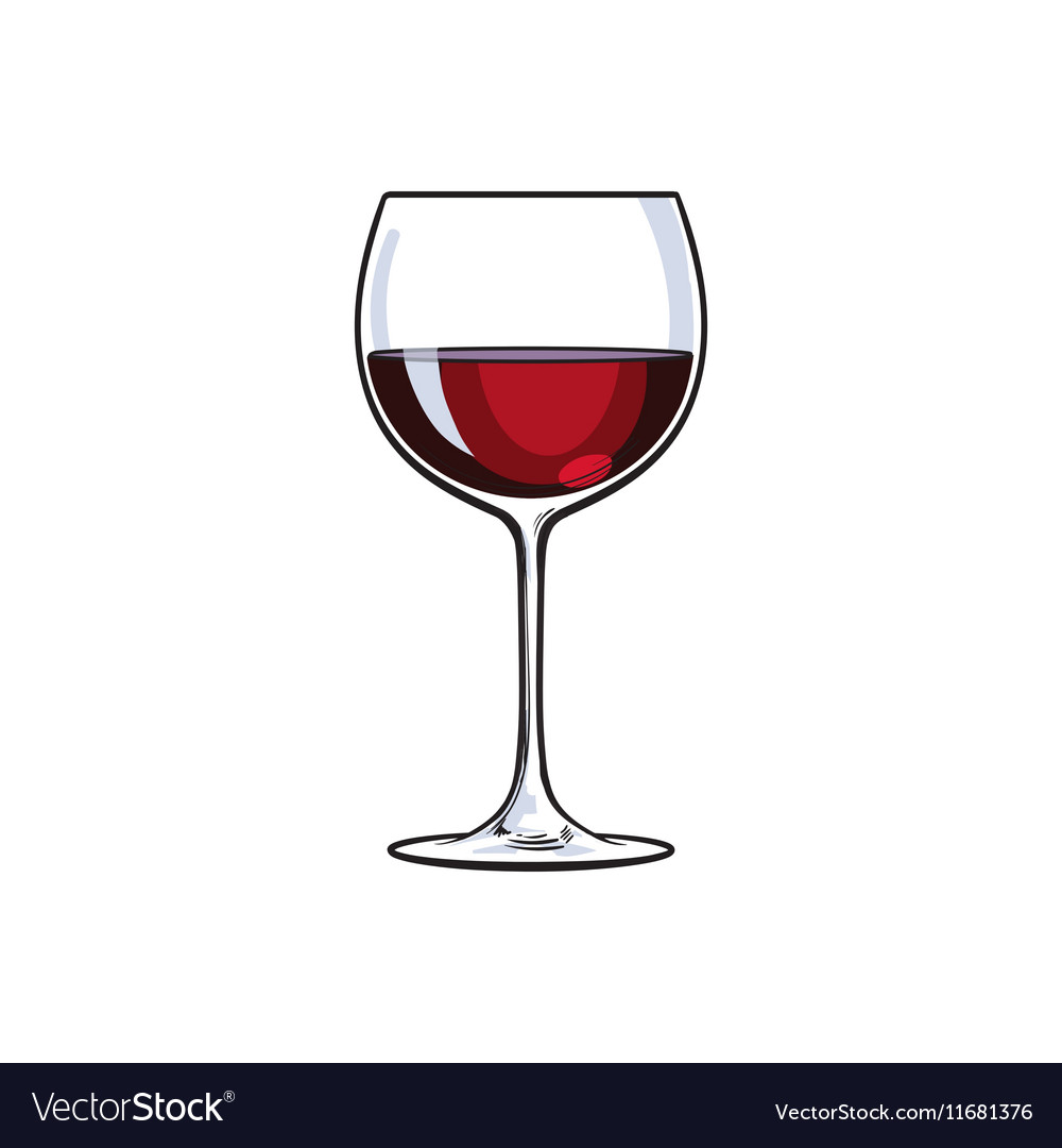 Red wine glass sketch vector