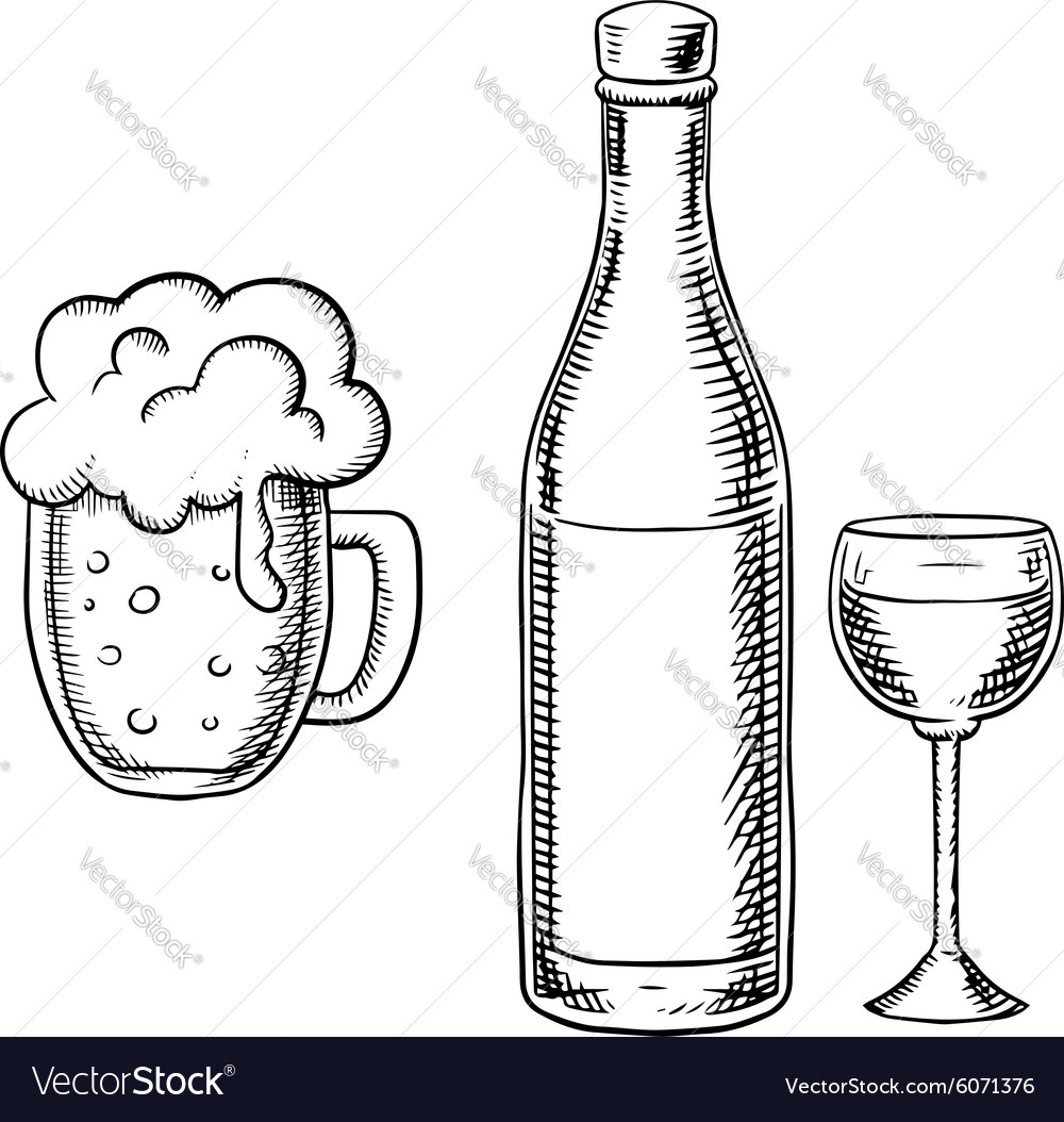 Wine glass bottle and beer tankard vector