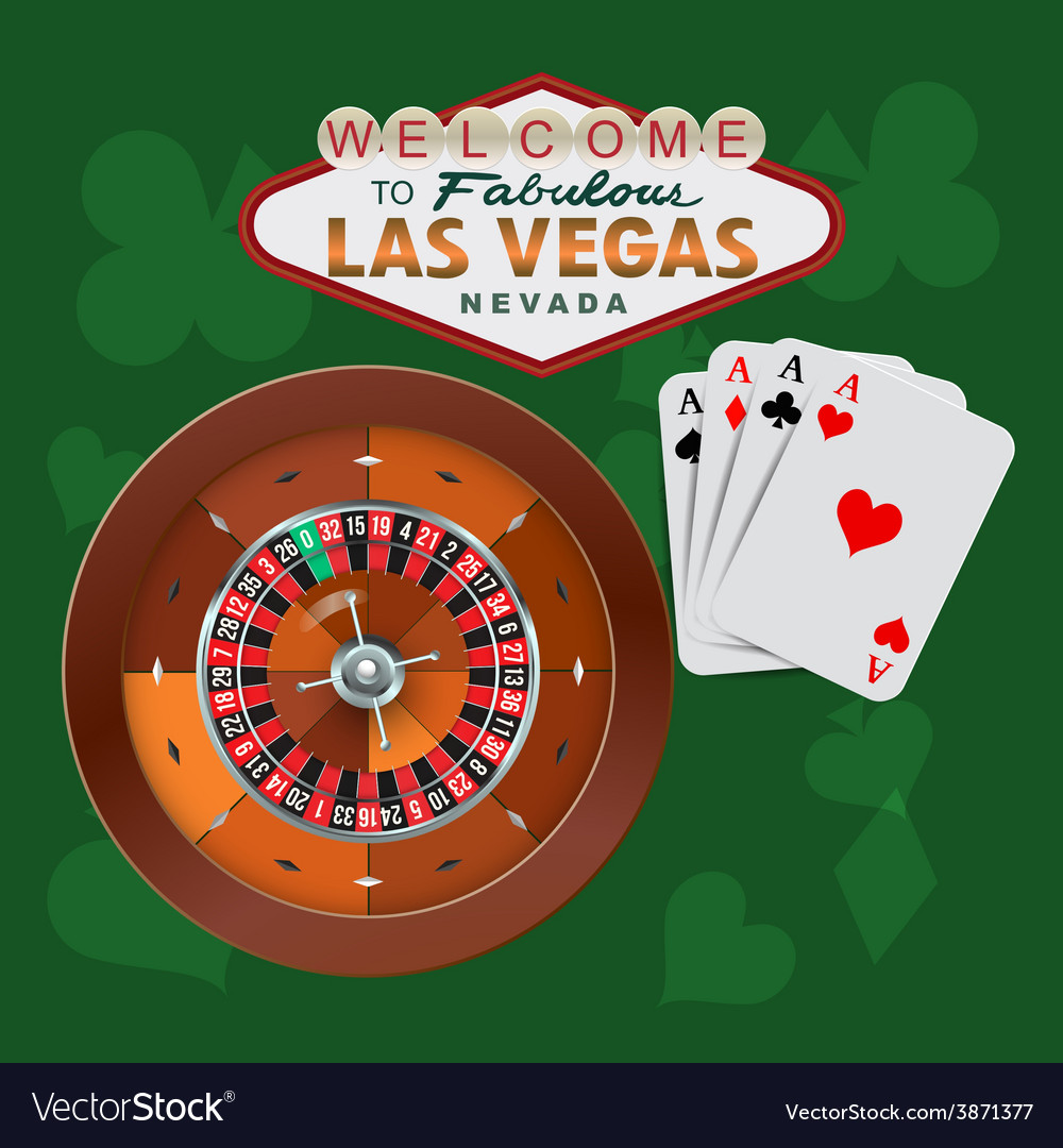 Las vegas roulette and cards vector
