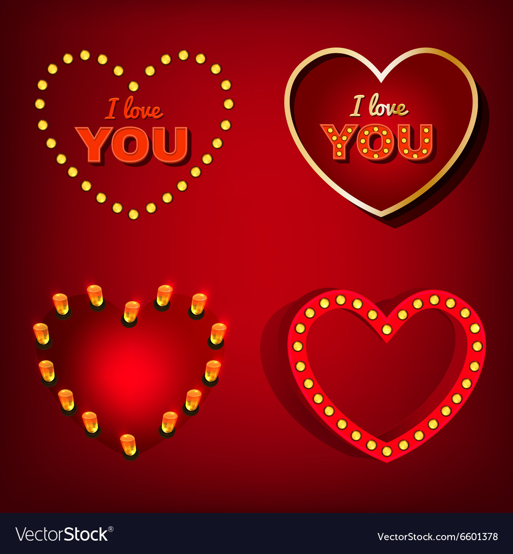 Lamp heart banners set vector