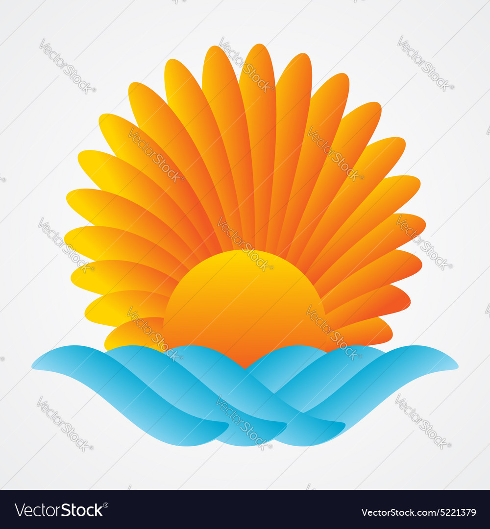 Abstract sun sea vector