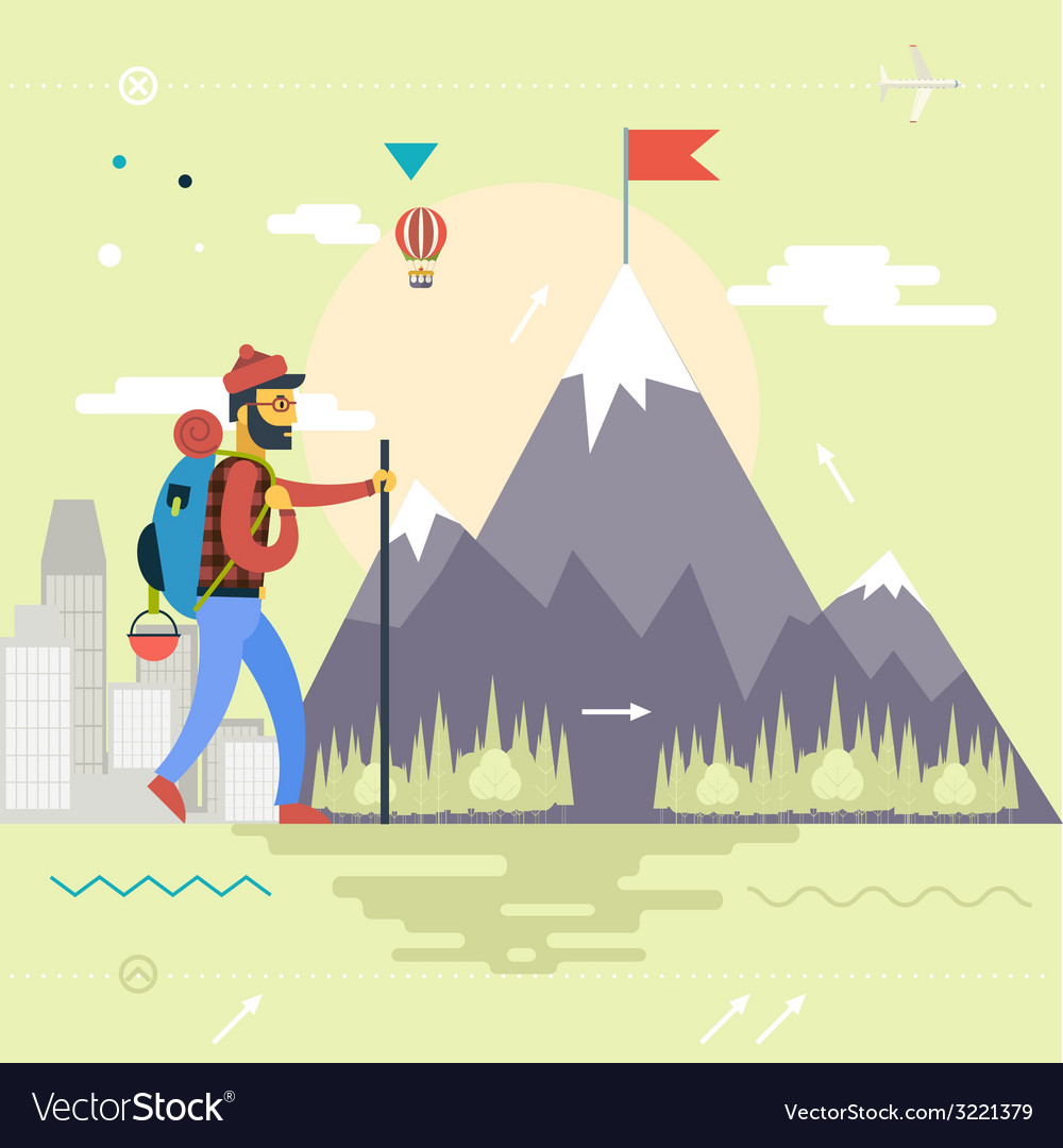 Backpack hiking mountain climber symbol travel vector