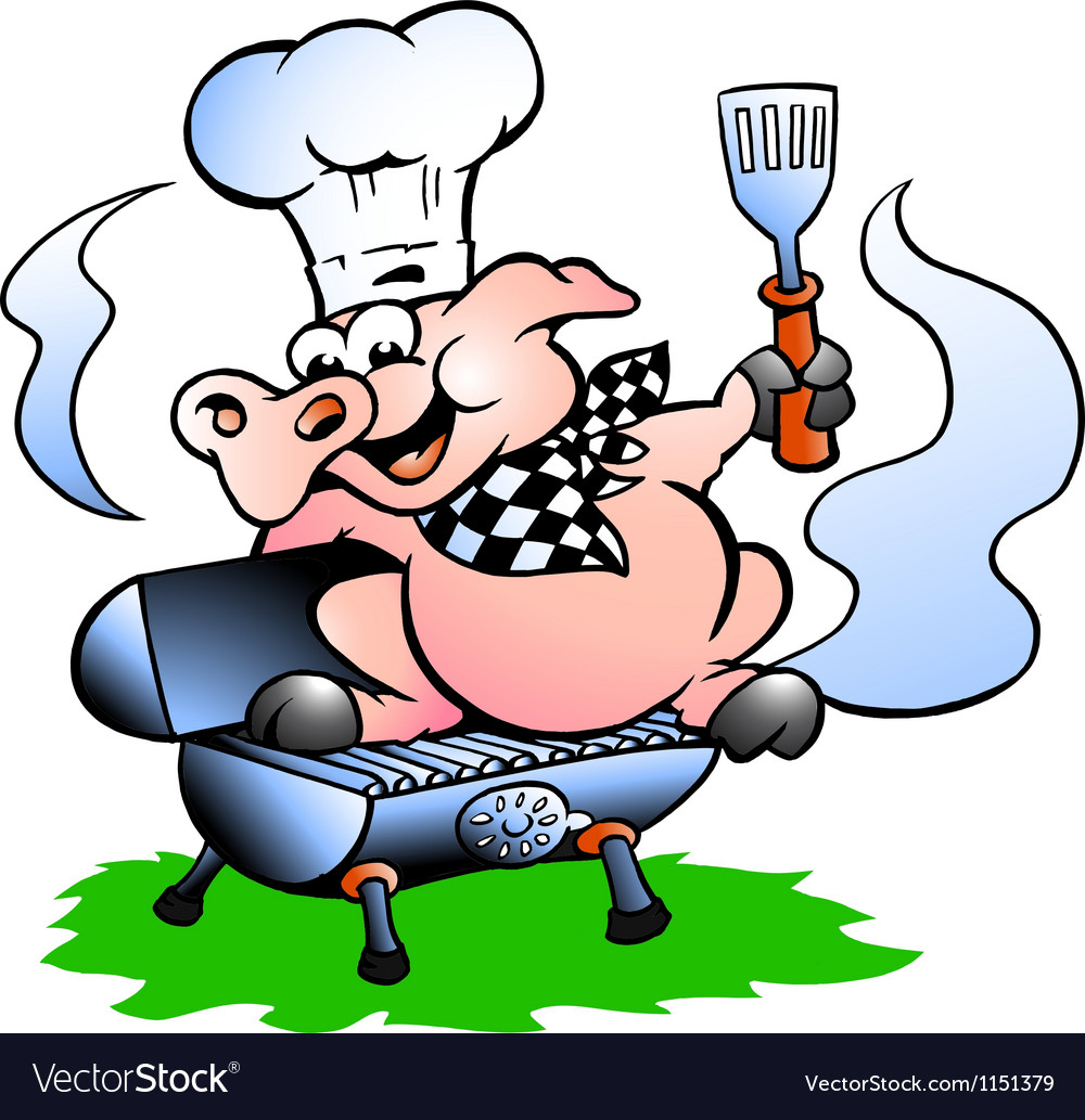 Handdrawn of an chef pig standing on a bbq barrel vector