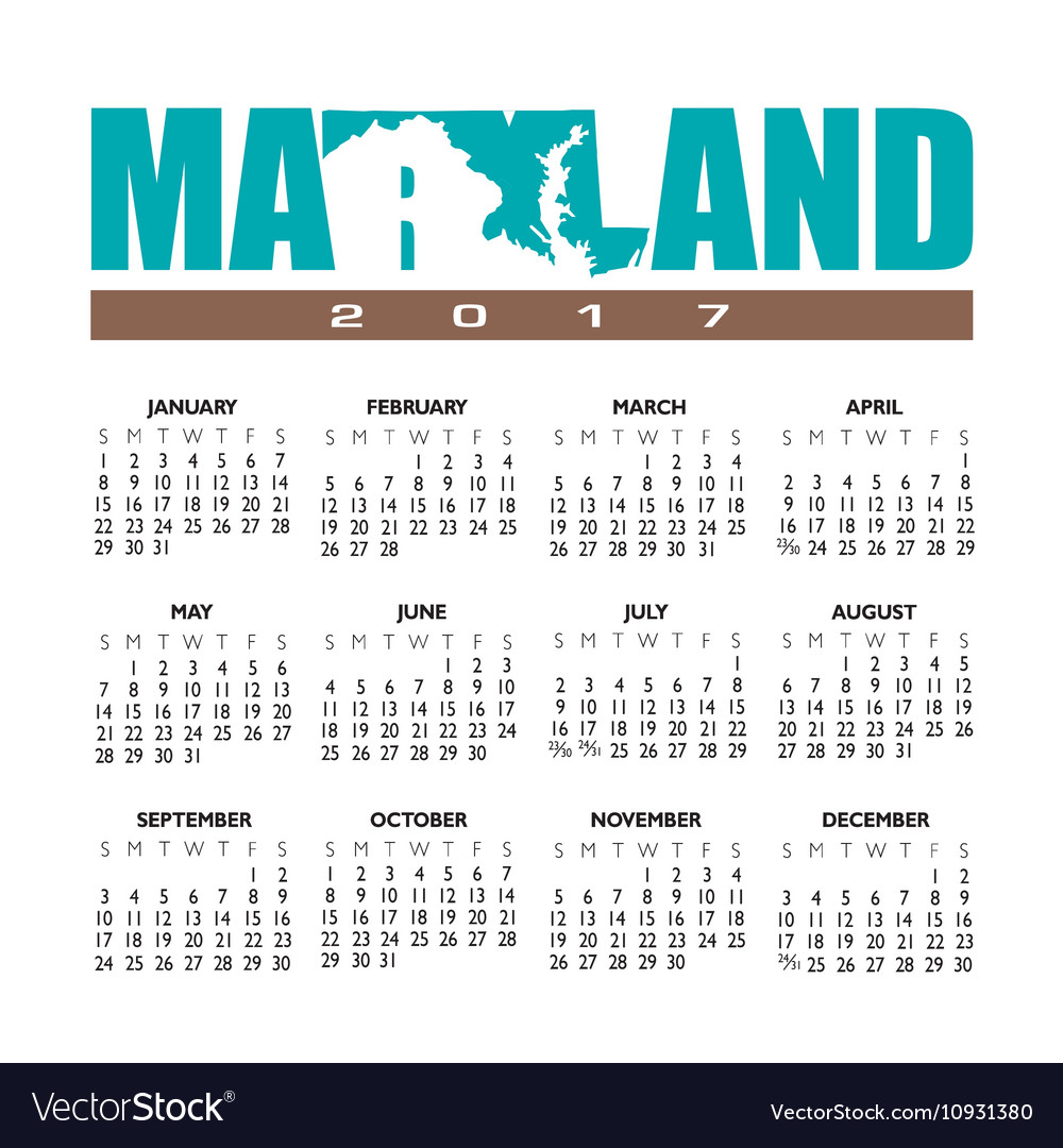 2017 maryland calendar vector