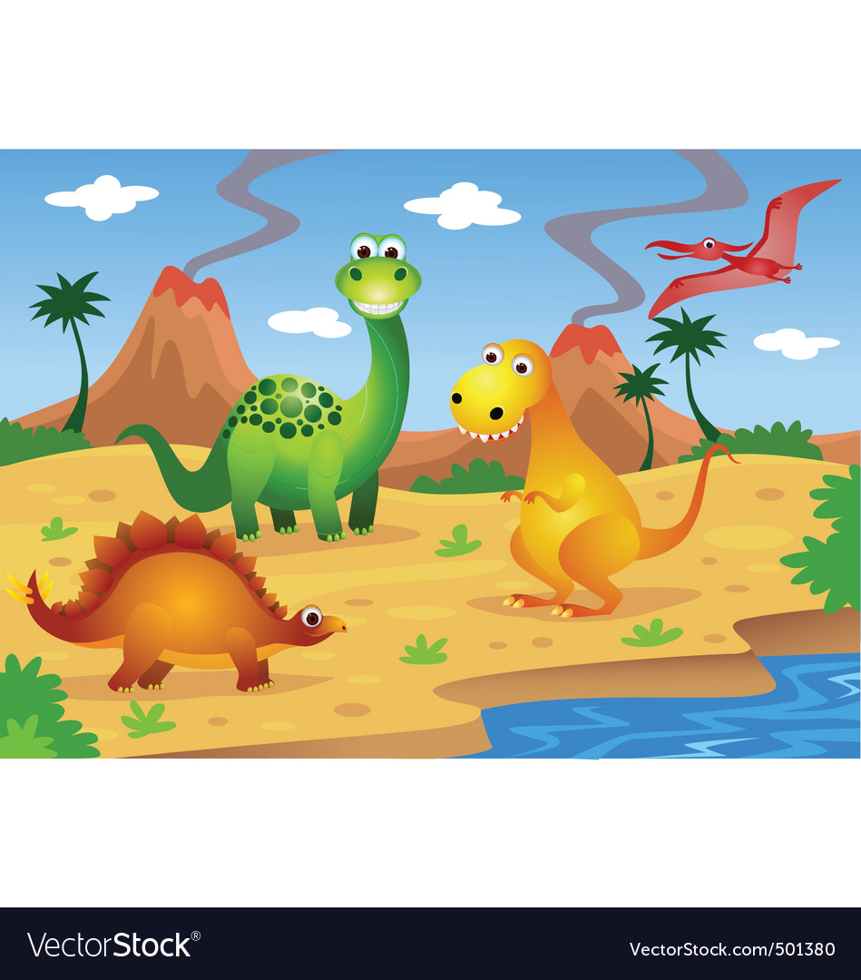 Dinosaurs cartoon vector