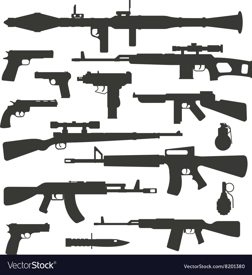 Weapon collection different military automatic gun vector
